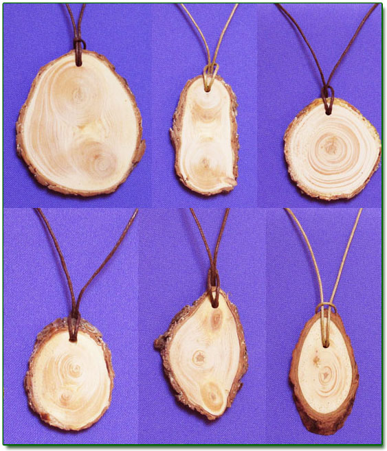 Ringing Cedars. Cedar Pendants with Bark